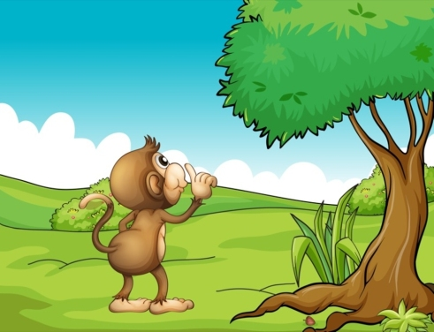 Illustration of a monkey looking at the tree